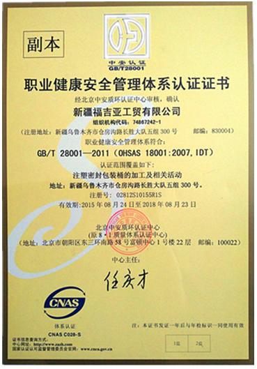 劲强:职业健康安全管理体系认证证书
